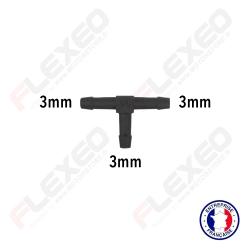 Raccord connecteur T pour tuyau et durite diamètre 3mm