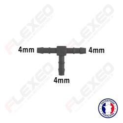 Raccord connecteur T pour tuyau et durite diamètre 4mm