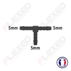 Raccord connecteur T pour tuyau et durite diamètre 5mm