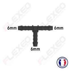 Raccord connecteur T pour tuyau et durite diamètre 6mm