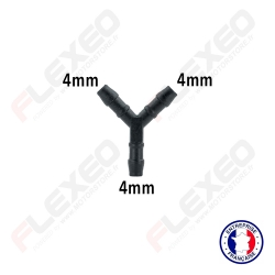 Raccord connecteur Y pour tuyau et durite diamètre 4mm