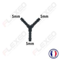 Raccord connecteur Y pour tuyau et durite diamètre 5mm