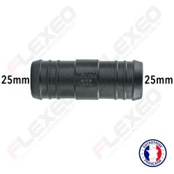 Raccord connecteur droit pour tuyau et durite diamètre 25mm