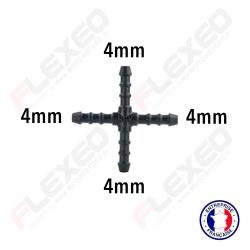 Raccord connecteur X pour tuyau et durite diamètre 4mm