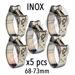 PACK 5 collier à TOURILLONS Inox W4 - Diamètre 68 - 73 mm